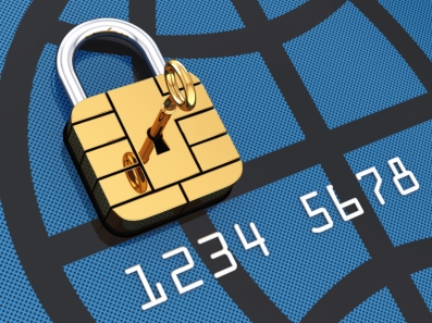 Credit card security chip as padlock